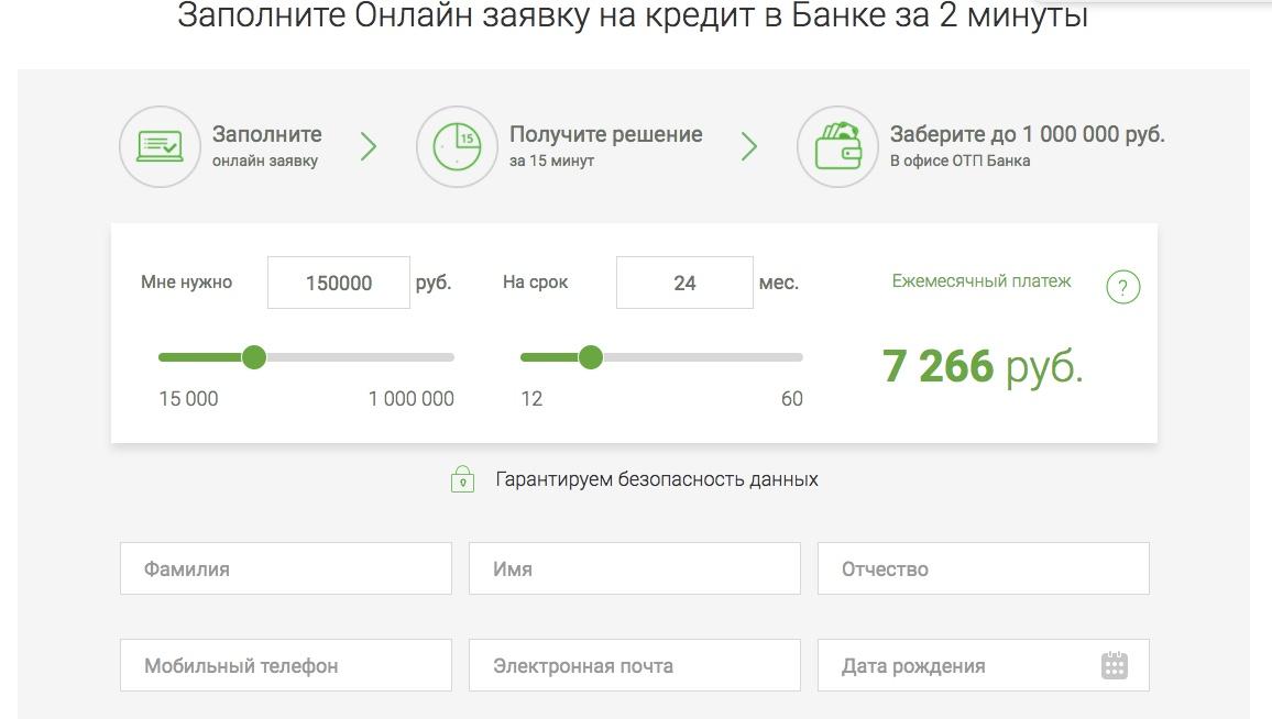 ОТП онлайн заявка на кредит